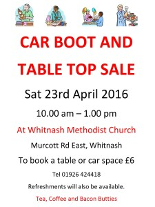 Car boot and table top sale at the Methodist Church, Murcott Road