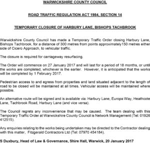 Harbury Lane Closure